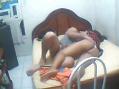 Indian college couple girl with nice ass fucked on bed