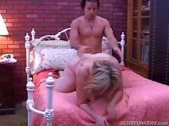 Beautiful mature BBW Deedra enjoys cum all over her big tits