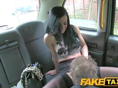 FakeTaxi Lady with big tits and tight black stockings