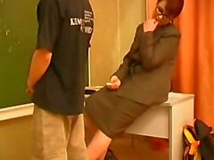 Mature teacher let silly stud cum hard doggystyle
