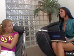 Pigtailed blonde licks her MILF therapist