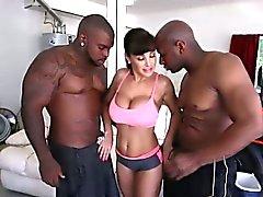 Whore in black cock trio