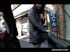 Big titted slutty Asian teen gets hairy cunt fingered in a car