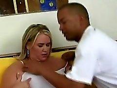 Mature Blonde BBW Interracial Foreplay