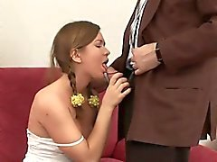 Naughty chick is riding on teacher's hard rod zealously