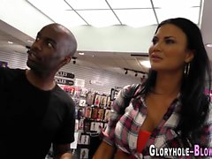 Whore gobbles black dick