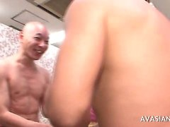Asian slut gets fucked hard by two dudes
