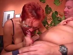 Pierced Mature in Glasses Fucks Fatty