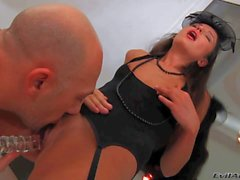 Slim Nataly Gold in black lingerie gets licked by Omar