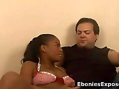 Titty black teen fucks a white cock with much desire