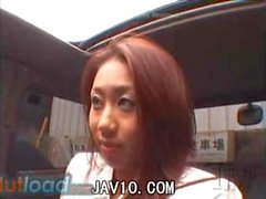Japanese girl getting fucked in blue jeans in a van