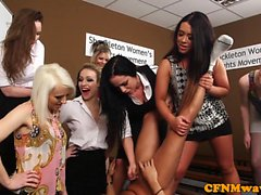 CFNM femdoms humiliating prick in group