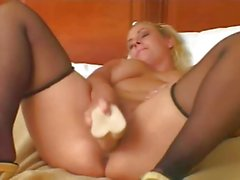 Fat Chubby Blonde Ex GF masturbating and riding Cock