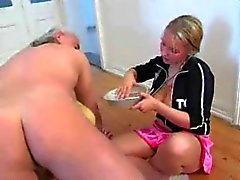 Crazy Cock Milking Blonde Teen x Oldman