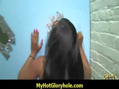 Ebony testing a gloryhole blowjob 3