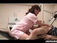 Turned on asian nurse banged hard by a patient in the cabinet