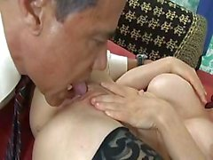 Mae Victoria sucks on the dick before getting it in the ass