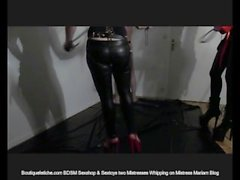 Mistresses V and Mariam Whipping Slave
