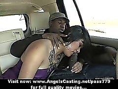 Lovely asian brunette lady having interracial sex