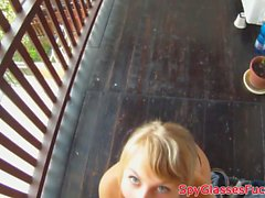 Pulled euro beautie enjoys pov balcony sex