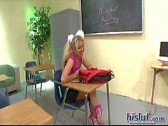 Blond Aubrey Adams nailed by teacher