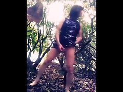 Tranny Playing with her dildo at Public Park