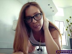 Oiled ass and anal while wearing glasses with Maddy Oreilly