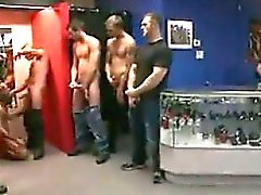 Gay Bondage Orgy At The Store