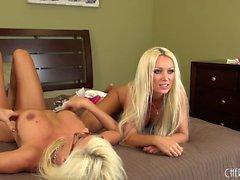 Ravishing blonde cougars Puma and Diana masturbate together on the bed