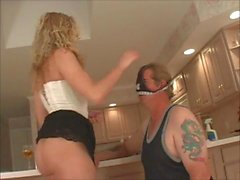 Subby pleasing his Mistress in kitchen