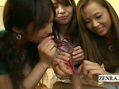 Subtitles CFNM Japanese group bizarre foreskin cup