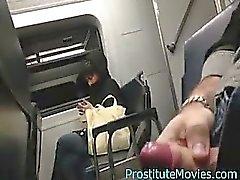 Flash on train with closeup cum
