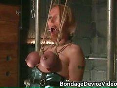 Nastu blonde babe is bound and spanked