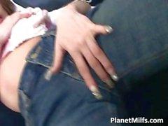 Horny brunette MILF puts her hand part1