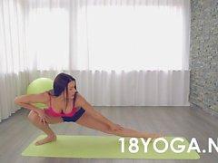 yoga teen anal creampied