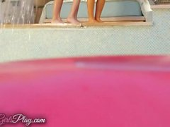 When Girls play - Lesbian pool party threesome