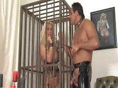 Caged biondi Domestiche fa guadagnare a destra a uscire