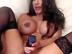 Sweet busty brunette masturbate on webcam
