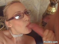 Blonde with glasses takes a sex drive