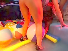 Horny party chicks suck and fuck dicks in club