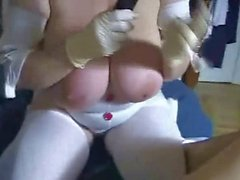 Nurses 38KKK Big titted hand relief and tit wank
