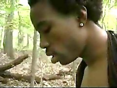 Black BBW assfucked in the woods.