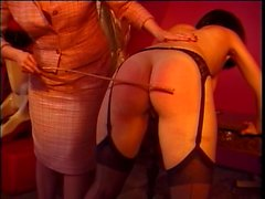 Brunette mistress straps in sexy bitch into chair for titty sucking