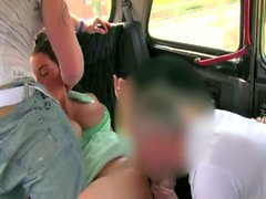 Public euro threesome on the back seat for couple and river