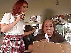 Randy teen redhead gets to sucks bus drivers lollipop