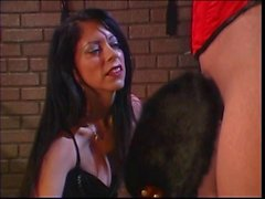 Chick in red gets her butt cheeks spanked