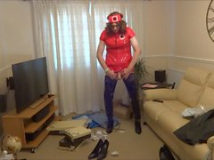 Red PVC Nurse Outfit and Shiny Black Crotch Boots