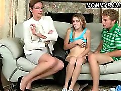 Sexy stepmom caught teen couple fucking