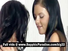 Hot brunette lesbos kissing and having lesbo sex