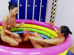 Its all fun and games for these two stunning chicks
